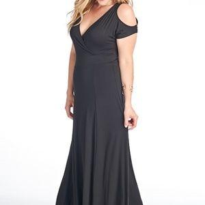 Dresses & Skirts - Cold Shoulder Full Length Dress - Black
